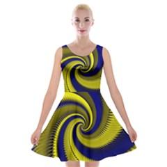 Blue Gold Dragon Spiral Velvet Skater Dress