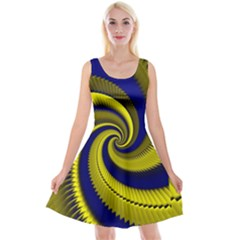 Blue Gold Dragon Spiral Reversible Velvet Sleeveless Dress