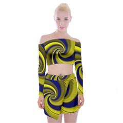 Blue Gold Dragon Spiral Off Shoulder Top With Skirt Set