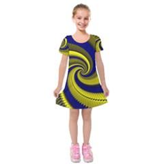Blue Gold Dragon Spiral Kids  Short Sleeve Velvet Dress