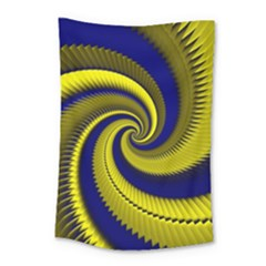 Blue Gold Dragon Spiral Small Tapestry