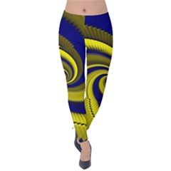 Blue Gold Dragon Spiral Velvet Leggings