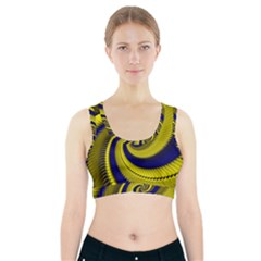 Blue Gold Dragon Spiral Sports Bra With Pocket