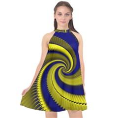 Blue Gold Dragon Spiral Halter Neckline Chiffon Dress