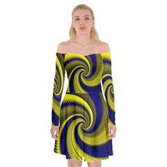 Blue Gold Dragon Spiral Off Shoulder Skater Dress