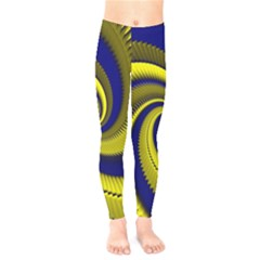 Blue Gold Dragon Spiral Kids  Legging