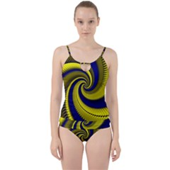 Blue Gold Dragon Spiral Cut Out Top Tankini Set