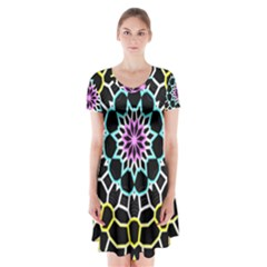 Colored Window Mandala Short Sleeve V Neck Flare Dress