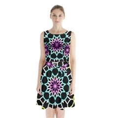 Colored Window Mandala Sleeveless Waist Tie Chiffon Dress