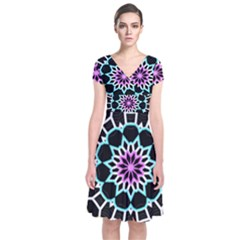 Colored Window Mandala Short Sleeve Front Wrap Dress