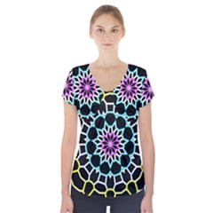 Colored Window Mandala Short Sleeve Front Detail Top