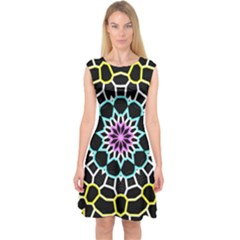 Colored Window Mandala Capsleeve Midi Dress
