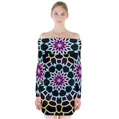 Colored Window Mandala Long Sleeve Off Shoulder Dress