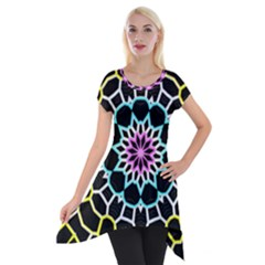 Colored Window Mandala Short Sleeve Side Drop Tunic