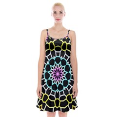Colored Window Mandala Spaghetti Strap Velvet Dress