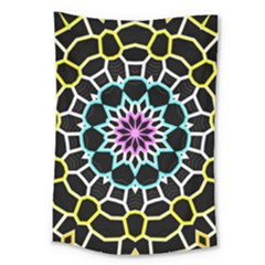 Colored Window Mandala Large Tapestry