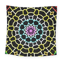 Colored Window Mandala Square Tapestry (large)