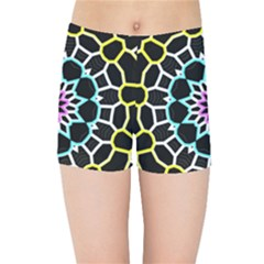 Colored Window Mandala Kids Sports Shorts