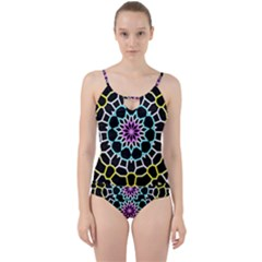 Colored Window Mandala Cut Out Top Tankini Set