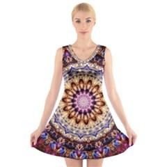 Dreamy Mandala V Neck Sleeveless Skater Dress