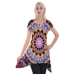 Dreamy Mandala Short Sleeve Side Drop Tunic