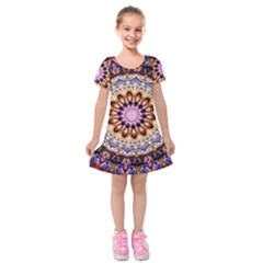 Dreamy Mandala Kids  Short Sleeve Velvet Dress