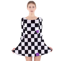 Dropout Purple Check Long Sleeve Velvet Skater Dress