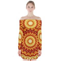 Powerful Love Mandala Long Sleeve Off Shoulder Dress