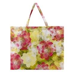 Flower Power Zipper Large Tote Bag