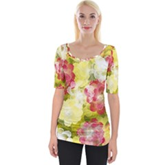 Flower Power Wide Neckline Tee