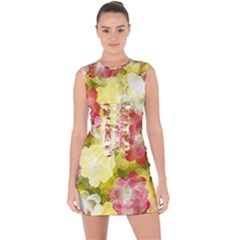Flower Power Lace Up Front Bodycon Dress