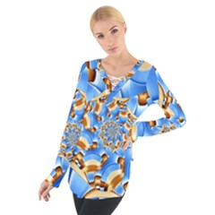 Gold Blue Bubbles Spiral Tie Up Tee