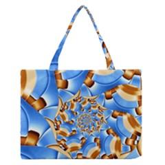 Gold Blue Bubbles Spiral Zipper Medium Tote Bag