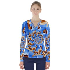 Gold Blue Bubbles Spiral V Neck Long Sleeve Top