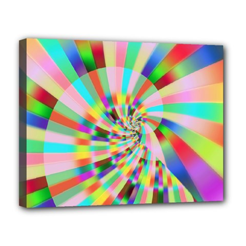 Irritation Funny Crazy Stripes Spiral Canvas 14  X 11
