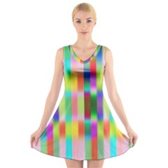 Multicolored Irritation Stripes V Neck Sleeveless Skater Dress