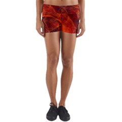 Swirly Love In Deep Red Yoga Shorts