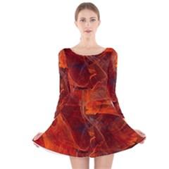 Swirly Love In Deep Red Long Sleeve Velvet Skater Dress
