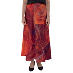 Swirly Love In Deep Red Flared Maxi Skirt