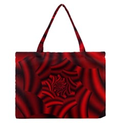 Metallic Red Rose Zipper Medium Tote Bag