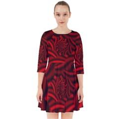 Metallic Red Rose Smock Dress