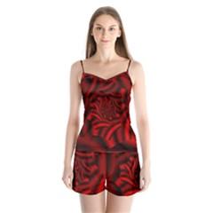 Metallic Red Rose Satin Pajamas Set