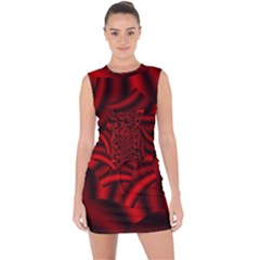 Metallic Red Rose Lace Up Front Bodycon Dress