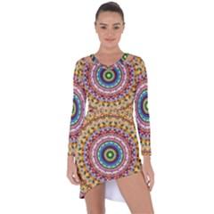 Peaceful Mandala Asymmetric Cut Out Shift Dress