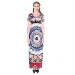Romantic Dreams Mandala Short Sleeve Maxi Dress