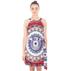 Romantic Dreams Mandala Halter Collar Waist Tie Chiffon Dress