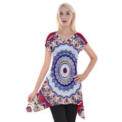Romantic Dreams Mandala Short Sleeve Side Drop Tunic