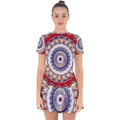 Romantic Dreams Mandala Drop Hem Mini Chiffon Dress