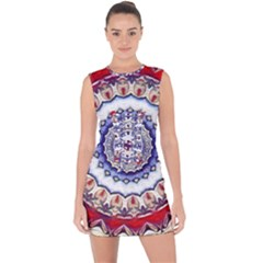 Romantic Dreams Mandala Lace Up Front Bodycon Dress