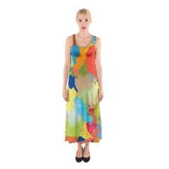 Summer Feeling Splash Sleeveless Maxi Dress